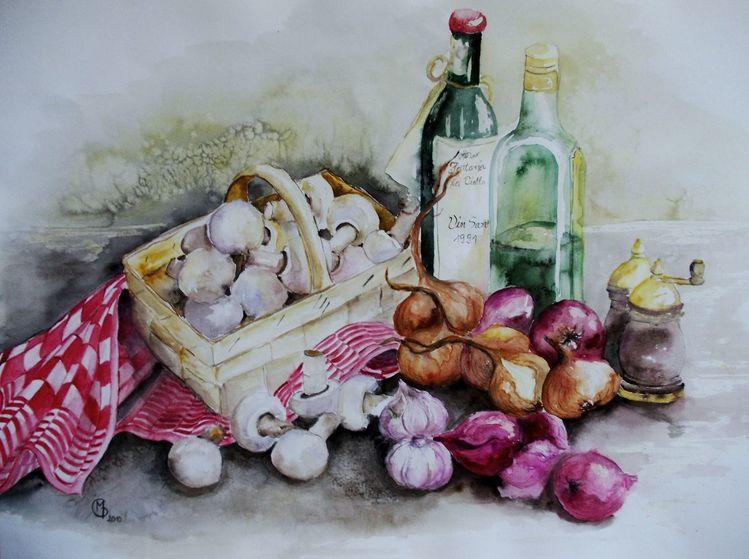 Stillleben, Küche, Zwiebeln, Aquarellmalerei, Champignon, Flasche