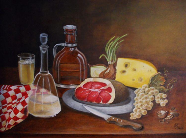 Schinken, Käse, Vesper, Stillleben, Brotzeit, Ölmalerei
