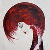 Frau, Rot, Schwarz, Malerei