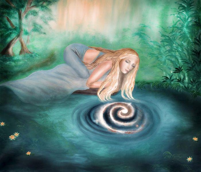 Mädchen am teich, Wasser, Universum, Ölmalerei, Galaxie, Natur