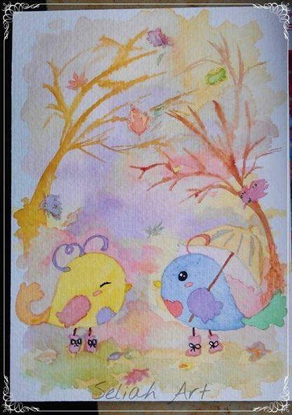 Comic, Autum, Vogel, Aquarellmalerei, Herbst, Aquarell