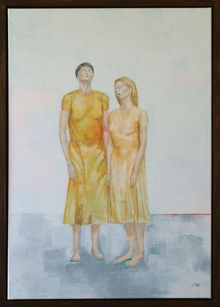 Frau, Szenario, Ölmalerei, Kleid, Gelb, Schichtungen