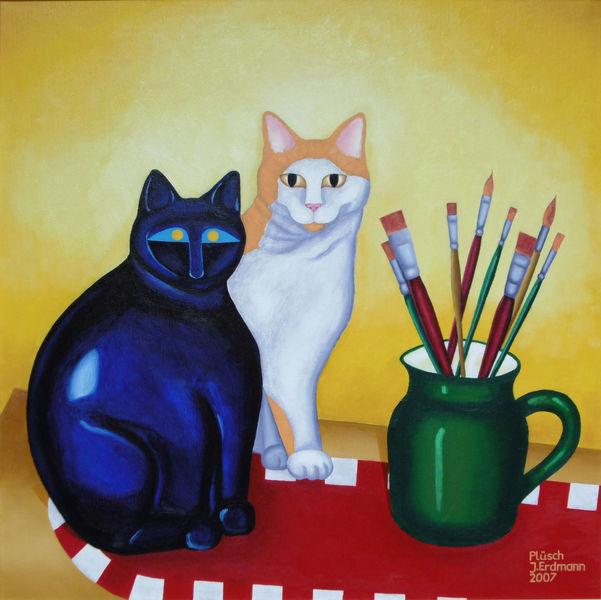Stillleben, Malerei, Katze