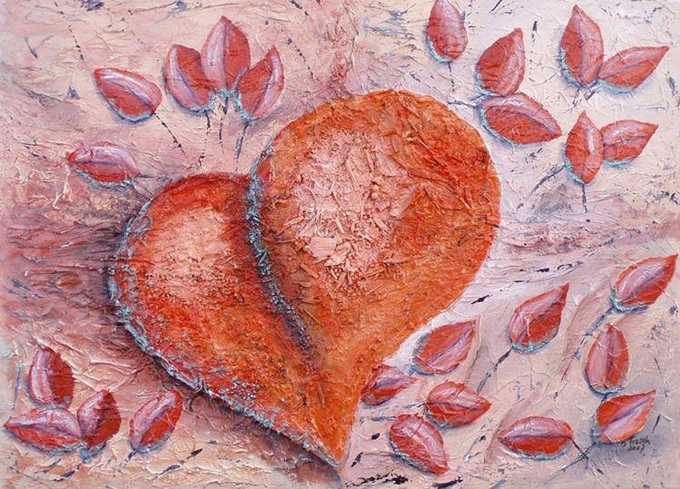 Struktur, Orange, Grau, Herz, Blätter, Metallicgrün