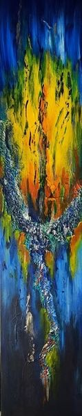 Struktur, Blau, Gelb, Smaragd, Collage, Malerei