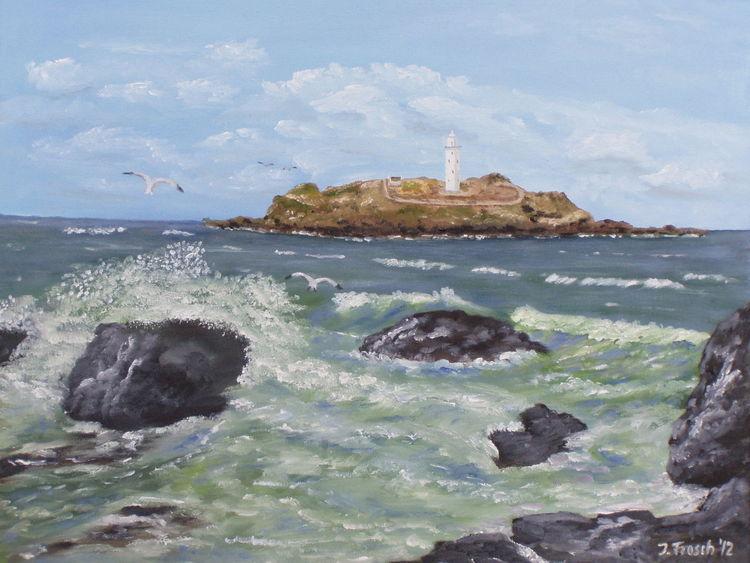 Insel, Meer, Brandung, Malerei