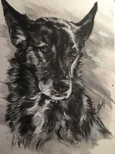 Hund, Schwarzweiß, Malerei,