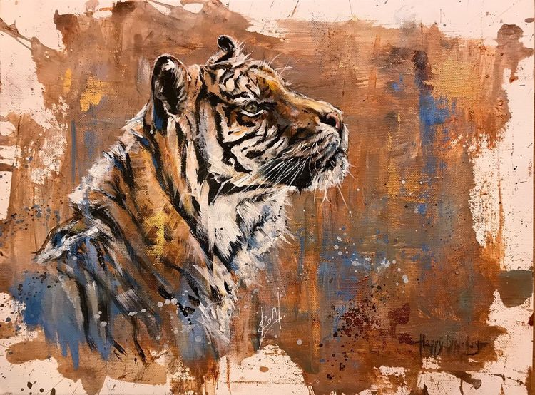 Katze, Tiger, Wildtier, Malerei