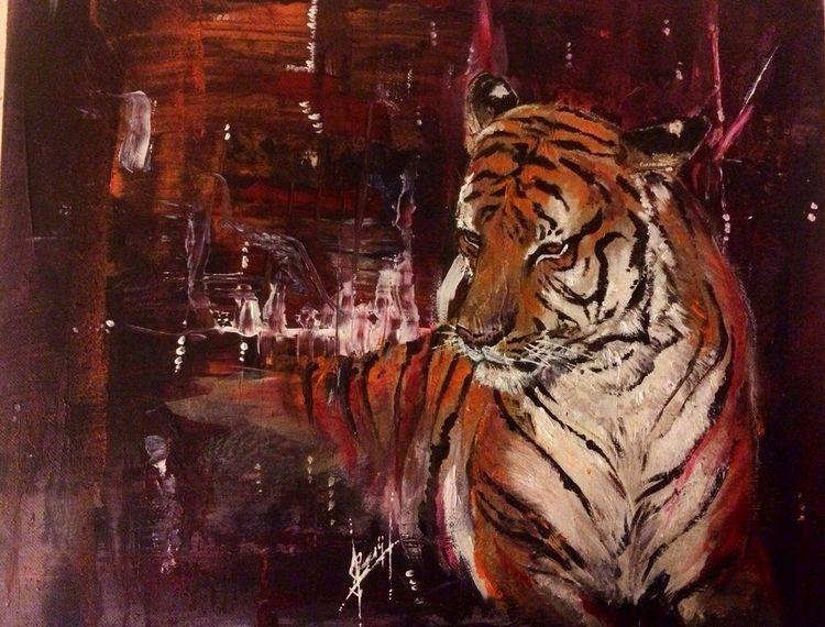 Wildtier, Acrylmalerei, Portrait, Tiere, Tiger, Malerei