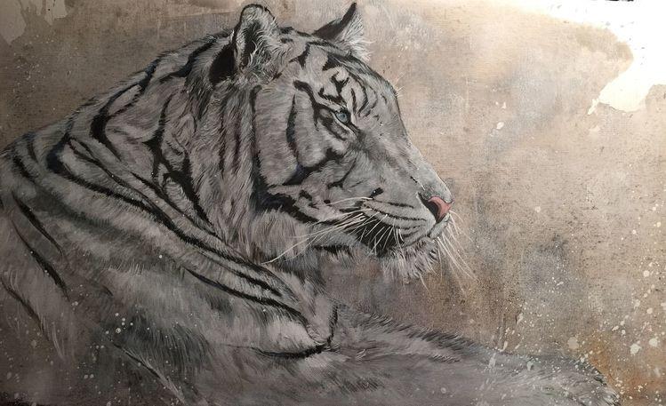 Wildtier, Tiger, Weiß, Malerei