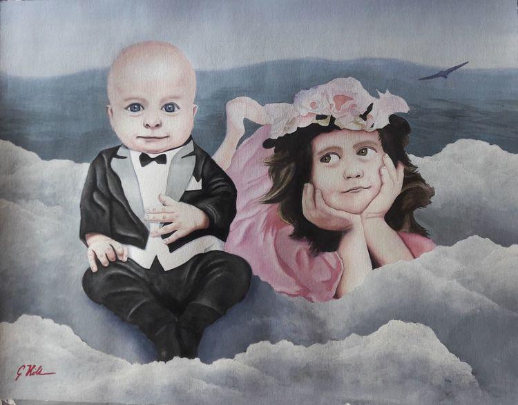 Himmel, Kinder, Portrait, Kleinkind, Wolken, Mischtechnik