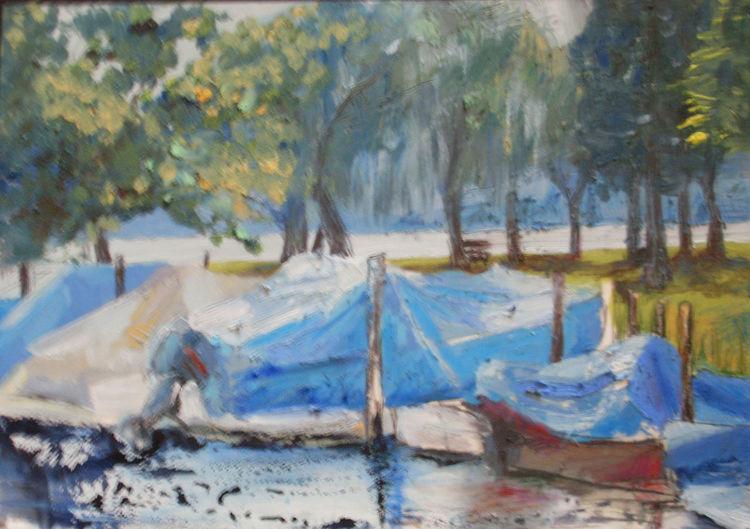 Wasser, Landschaft, Boot, Para, Mischtechnik