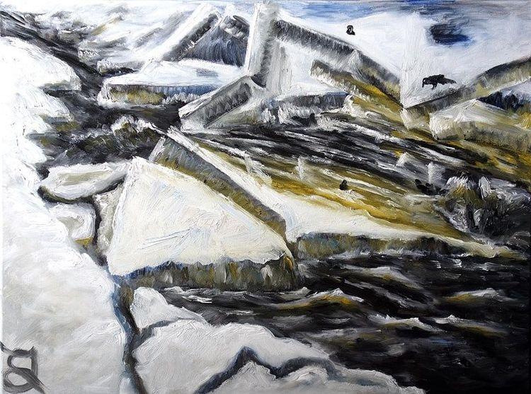 Fluss, Eis, Wasser, Kalt, Malerei