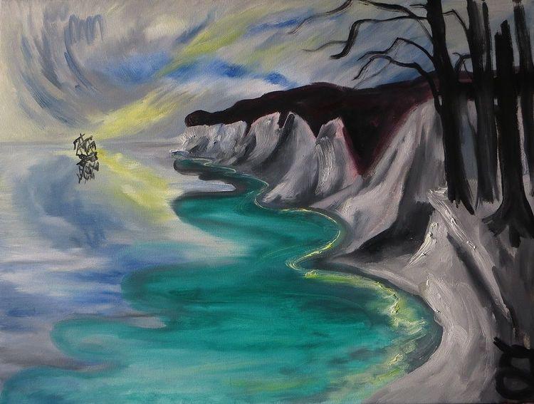 Küste, Meer, Schiff, Malerei