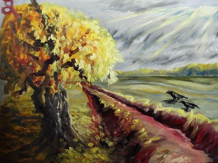 Spuren, Weg, Baum, Rabe, Malerei