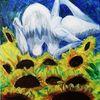 Göttin, Blumen, Wolken, Malerei