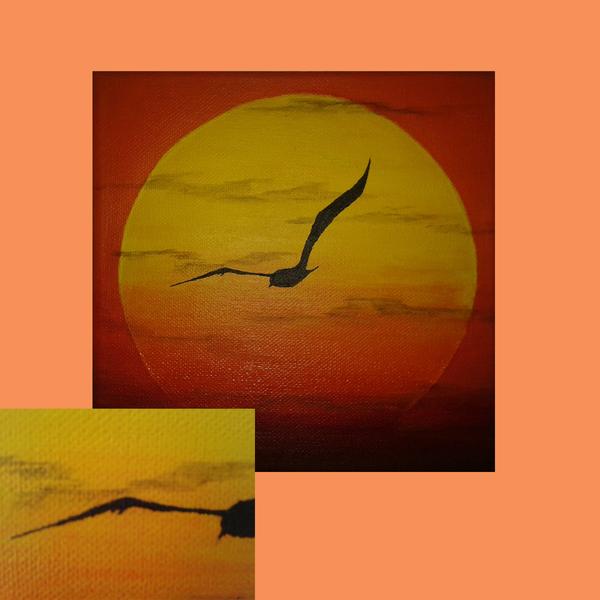 Acrylmalerei, Sonnenuntergang, Natur, Gemälde, Sonne, Landschaft