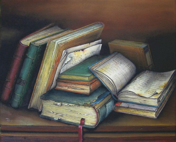 Leben, Stillleben, Buch, Alte bücher, Stille, Malerei
