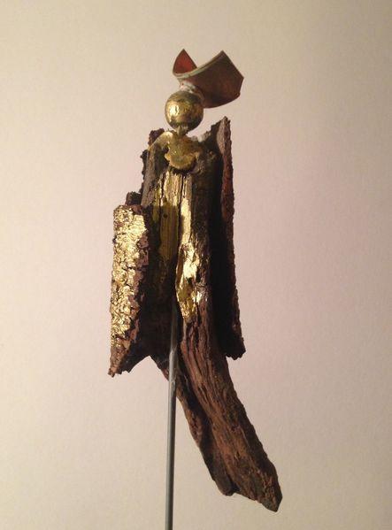 Holz, Kupfer, Figur, Kunsthandwerk, Objekt