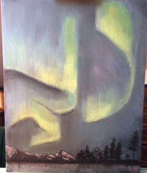 Zeichnung, Landschaft, Pastellmalerei, Zeichnungen, Polarlicht