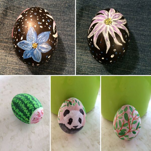 Ostern, Panda, Malerei, Pflanzen, Ei, Blumen