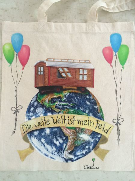 Wohnwagen, Acrylfarben stofffarben, Kirmes, Volksfest, Welt, Erde