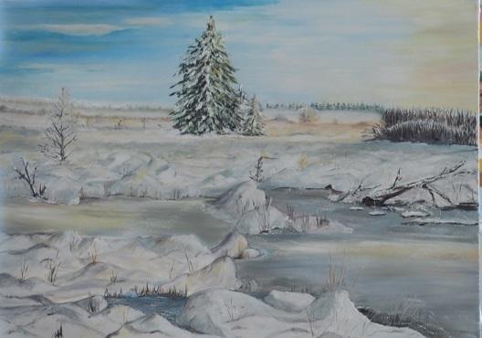 Natur schnee eis, Wasser, Blau, Erde, Malerei, Gelb
