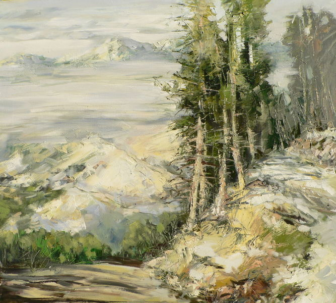 Ölmalerei, Berge, Landschaft, Kiefer, Gemälde, Malerei