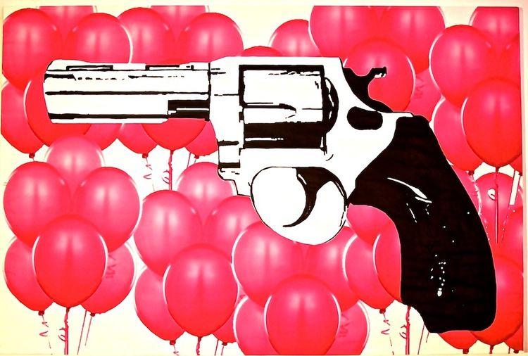 Acrylmalerei, Revolver, Zeichnung, Pistole, Abstrakt, Luftballon