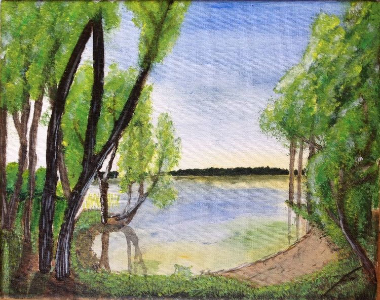 Malerei, Acrylmalerei, Wald, Wasser, Landschaft, Baum
