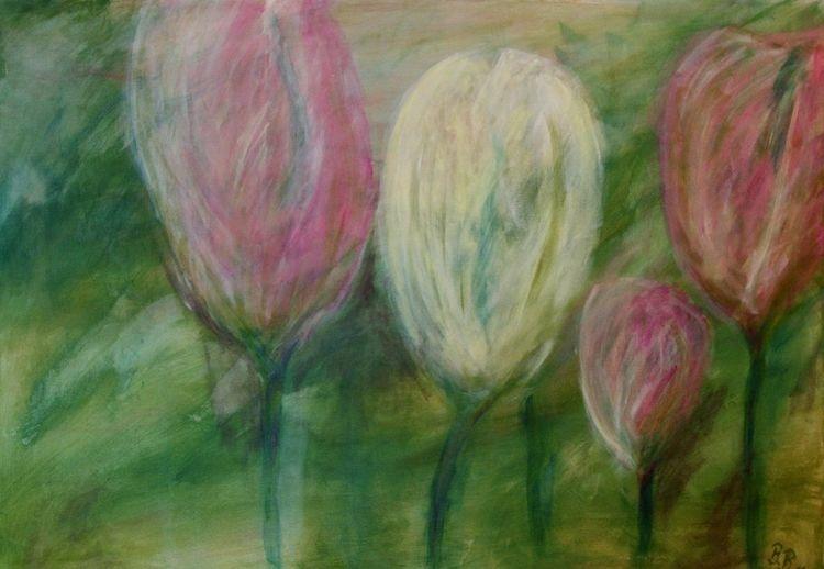 Rosé, Grün, Tulpen, Frühling, Malerei, Blumen