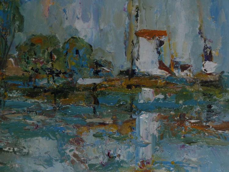 Abstrakt, Mischtechnik, Wasser, Blau, Malerei
