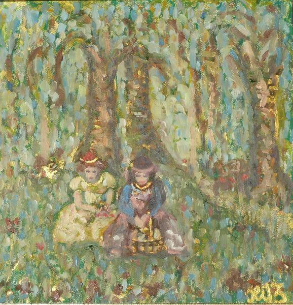 Frau, Baum, Wald, Acrylmalerei, Ölmalerei, Malerei