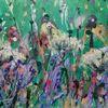 Blumenwiese, Abstrakt, Bunt, Malerei