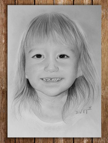 Mädchen, Kopf, Bleistiftzeichnung, Person, Menschen, Portraitzeichnung