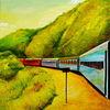 Eisenbahn, Weg, Ölmalerei, Berge