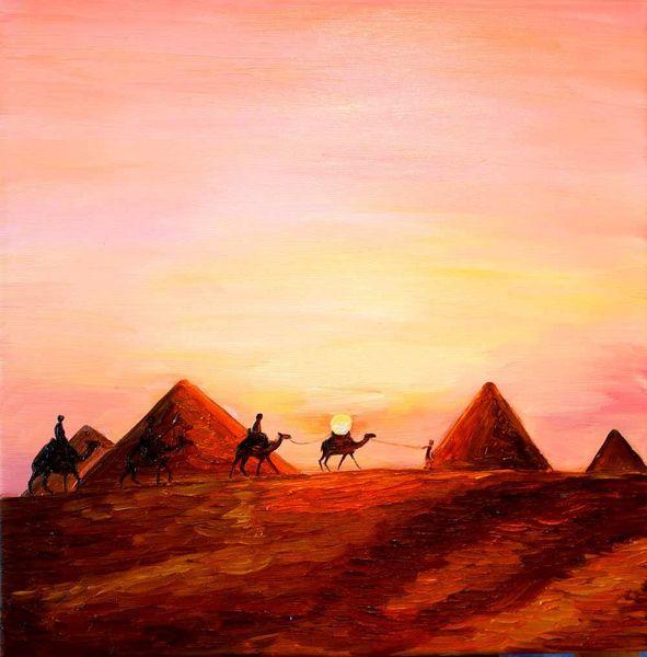 Abend, Ambiente, Wüste, Landschaft, Malerei, Sonnenuntergang