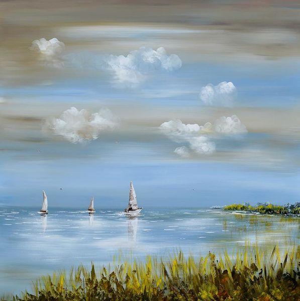 Wasser, Fantasie, Segel, Landschaft, Natur, Acrylmalerei