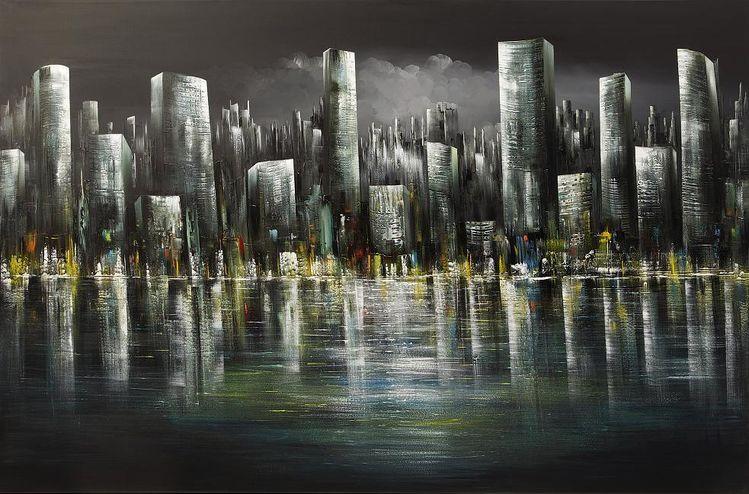 Stadt, Skyline, Malerei