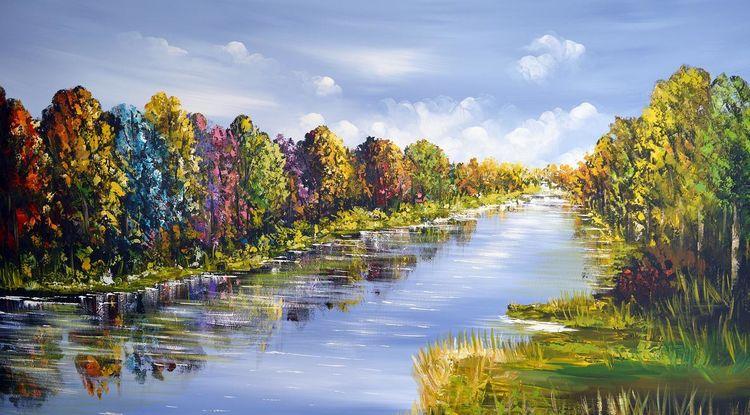 Acrylmalerei, Fantasie, Baum, Landschaft, Wasser, Malerei