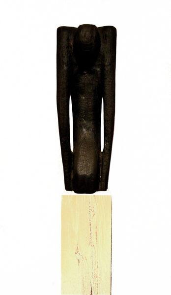 Figural, Schwarz, Surreal, Modern, Skulptur, Holzskulptur