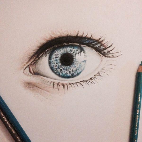 Blau, Malerei, Zeichnung, Augen, Bleistiftzeichnung, Realismus