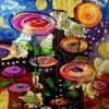 Malerei, Acrylmalerei, Psychoblumen, Abstrakt