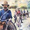Cowboy, Film, Aquarellmalerei, Wanderweg