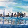 Skyline, New york, Aquarellmalerei, Aquarell