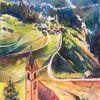Aquarellmalerei, Tal, Südtirol, Berge