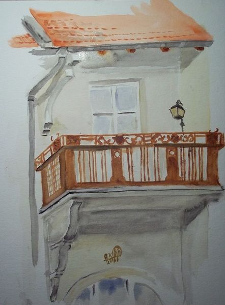 Balkon, Licht, Luft, Berlin, Aquarell