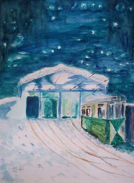 Schnee, Stimmung, Woltersdorf, Licht, Kalt, Straßenbahn