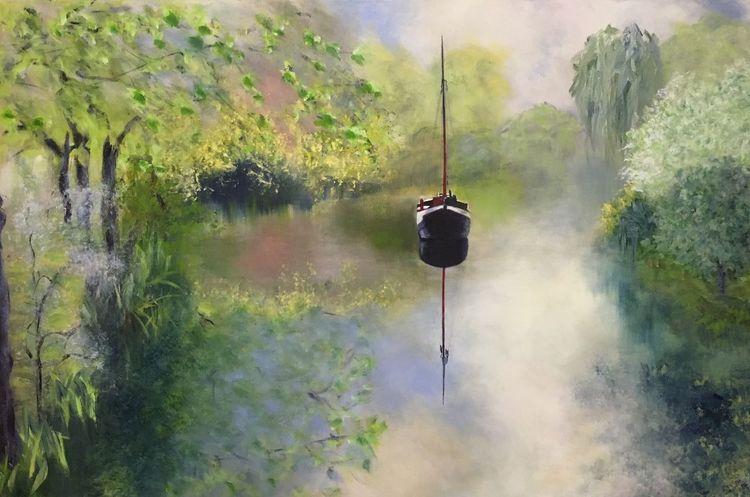 Boot, Frühling, Fluss, Malerei, Treiben, Lassen
