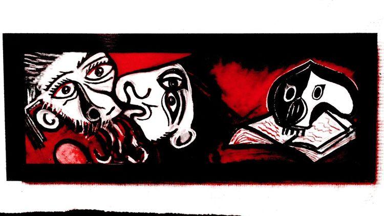 Figural, Abstrakt, Malerei, Zeichnung, Rot schwarz,